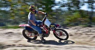 biker with helmet on