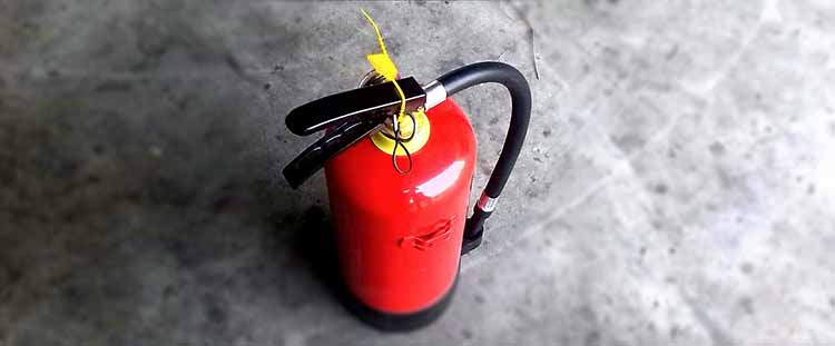 fire extinguisher on the floor