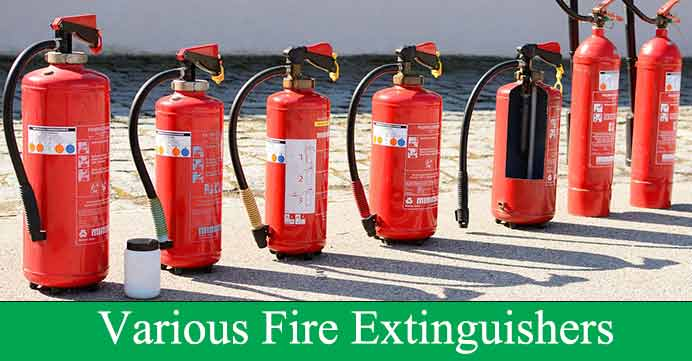 various fire extinguishers