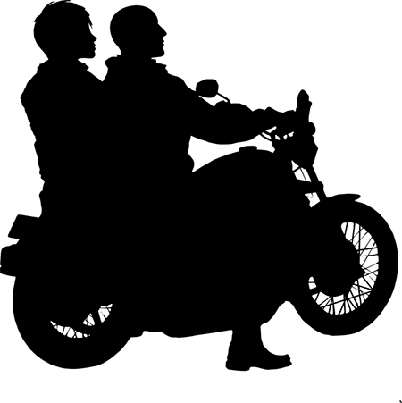 motorcycle rider with friend